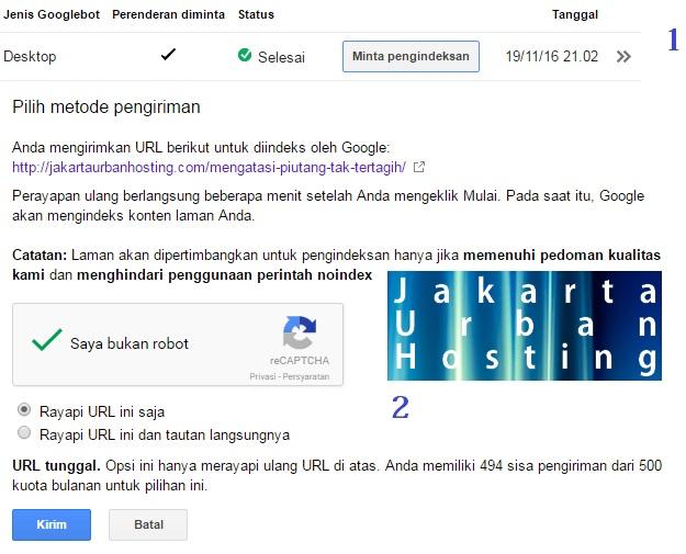 cara SEO tercepat dengan mengirimkan halaman website pada google indeks