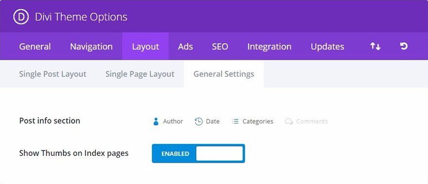 setting layout general di divi plugin