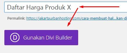 """Isi judul halaman dan klik tombol ungu """"Gunakan Divi Builder"""""""