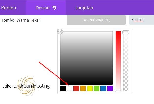 Pilih warna teks untuk di tombol