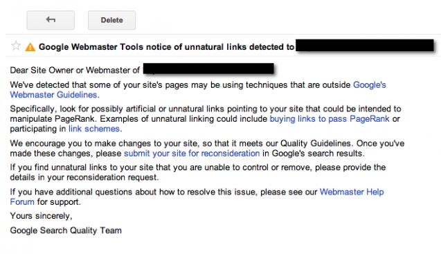 pinalti google terhadap tautan spam